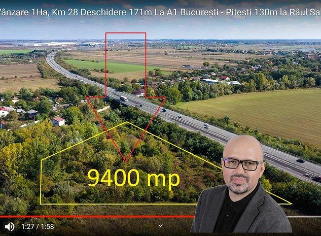 Teren de vanzare 9400mp  la A1 170m( Bucuresti Pitesti) si 130m la Râul Sabar - imaginea 1
