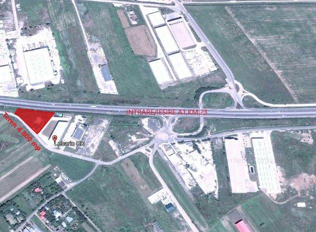 Militari-Bolintin,vizibilitate din autostrada A1 la km23, industrial/hala - imaginea 1
