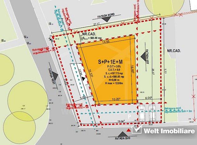 Vanzare teren premium in Grigorescu, Piata 14 Iulie, 565 mp, front la 2 strazi - imaginea 1