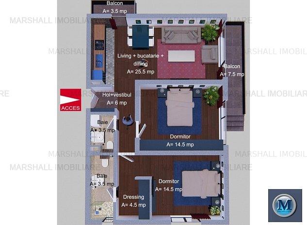 Apartament 3 camere de vanzare, zona Alb: Apartament 3 camere de vanzare, zona Albert, 75.5 mp