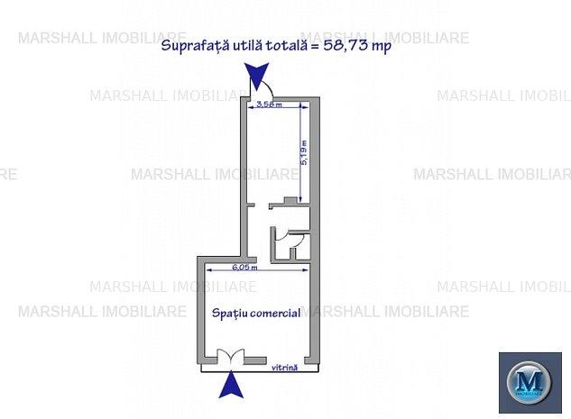 Spatiu comercial de inchiriat, zona Repu: Spatiu comercial de inchiriat, zona Republicii, 58.73 mp