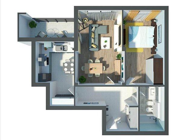 Platinum Residence, 2 camere, 62 mp utili - imaginea 1