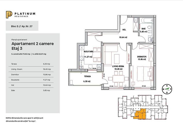 Apartament 2 camere, 62 mp utili, Tractorul - imaginea 1