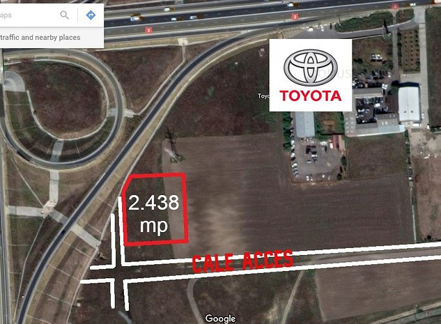 Teren 2438 mp, dezvoltare industriala/comerciala, zona A4-Toyota - imaginea 1