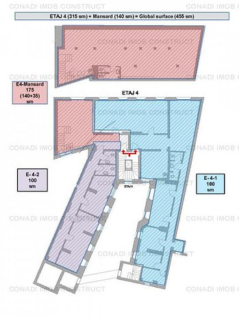 De inchiriat spatiu de birouri la etajul 4 si mansarda pretabil pentru birouri - imaginea 1