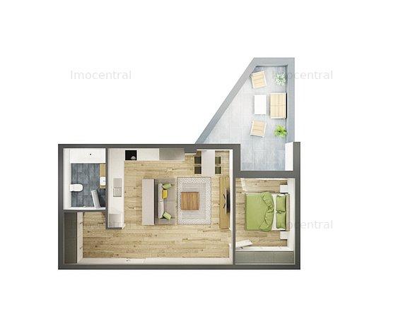 Apartament 2 camere, 58 mp, bloc nou - imaginea 1