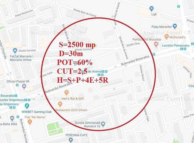 Teren  Basarabia-2500 mp,D=30m,zona M3 - imaginea 1