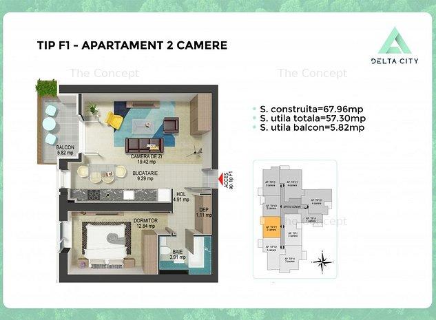 Apartament 2 camere Tip F1 | DELTA CITY *PROMO* PREMIUM PORCELANOSA* - imaginea 1