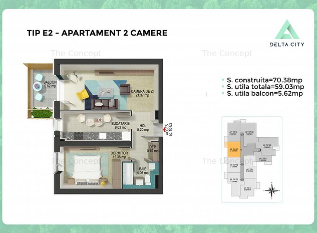 Apartament 2 camere Tineretului   Decomandat Bucatarie inchisa - imaginea 1