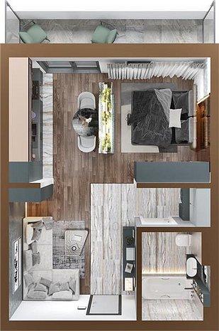 Apartament 1 camera 48mp in Copou Agronomie, Complex Rezidential Nou - imaginea 1