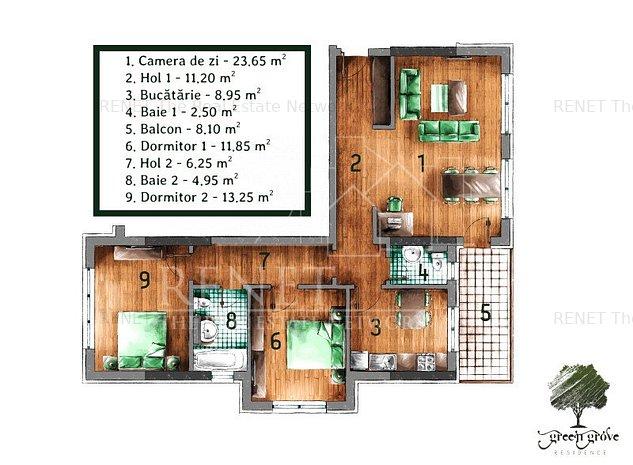 Apartament 3 camere decomandat Green Grove Residence - Comision Zero - imaginea 1
