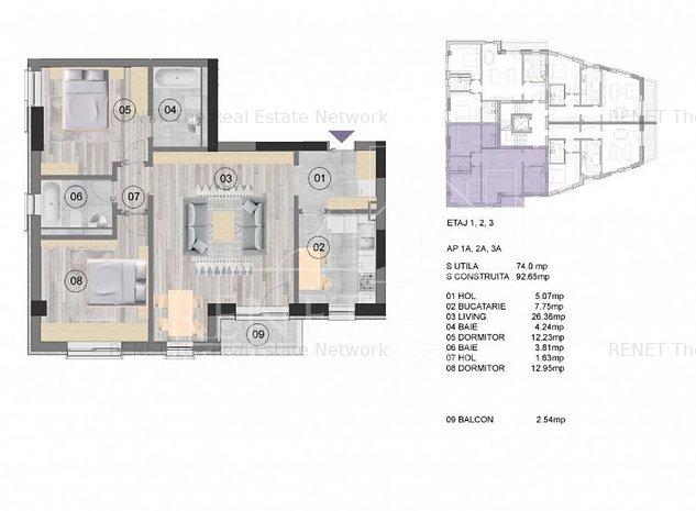 Apartament 3 camere NearCenter Residence Agricultori - imaginea 1