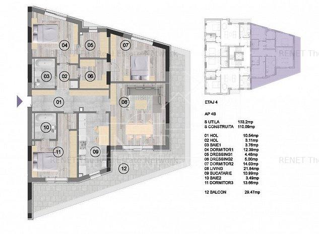 Apartament 4 cam+terasa , decomandat NearCenter Residence Agricultori - imaginea 1