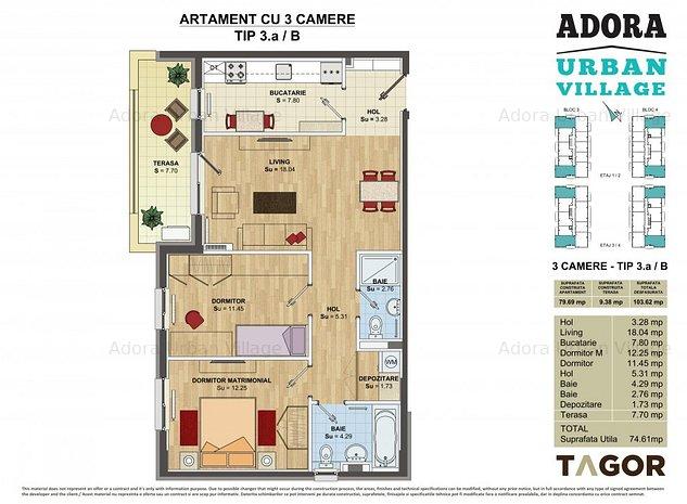 Apartament 3 camere lux prin rate la dezvoltator pe 6 ani - imaginea 1