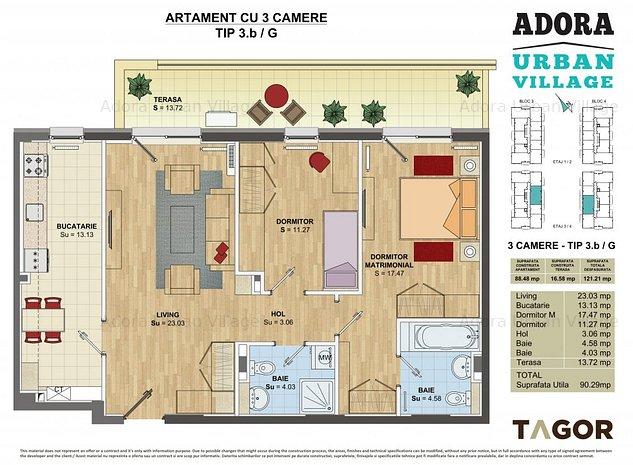 Apartament 3 camere 76m util cu terasa 17mp si incalzire in pardoseala  - imaginea 1
