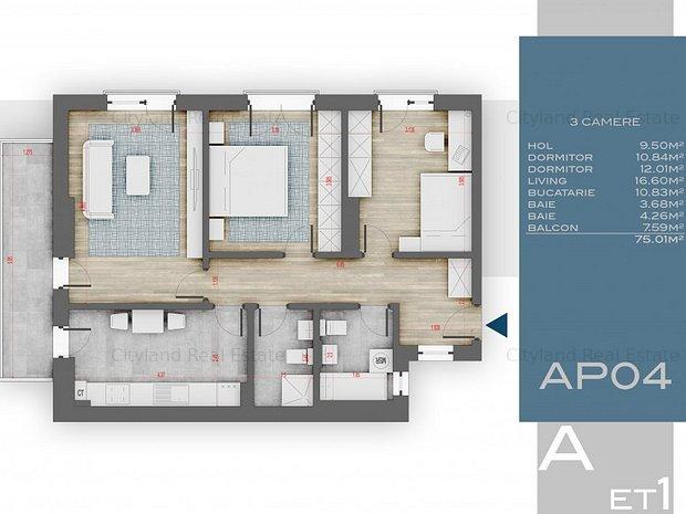 Apartament 3 camere, decomandat, 4 min Metrou 1 Decembrie, Bd. Th. Pallady - imaginea 1