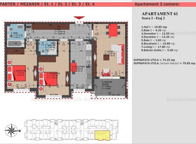 3 camere decomandat bloc nou Decebal: w