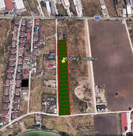 Loturi de teren 655mp zona Soseaua Cernica - Strada Fericirii 90e/mp  - imaginea 1