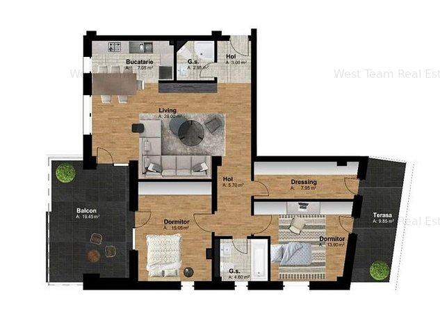 Apartament 3 camere, etaj retras, terasa , zona Torontalului! - imaginea 1