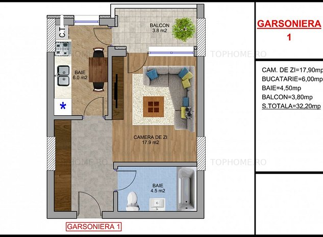 Berceni Garsoniera 8 min metrou M2 Ideal investitie - imaginea 1