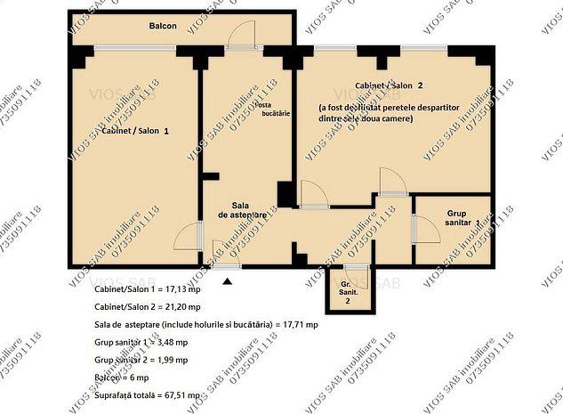 COAFOR/CABINET cu 2 Sali GENEROASE in Apartament - Posta Valea Argesului/Metrou - imaginea 1