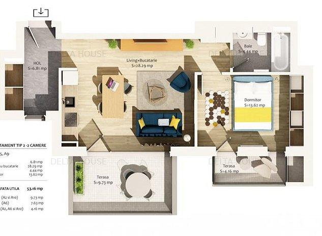 Apartament 2 camere Central, 53 mp utili, 2 balcoane, semifinisat - imaginea 1
