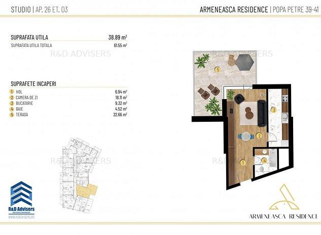 Garsoniera- Terasa 22 mp - Ideal investitie zona Armeneasca - imaginea 1