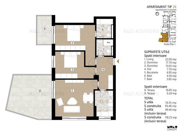 Apartament 3 Camere - 3 Minute fata de Metrou - imaginea 1