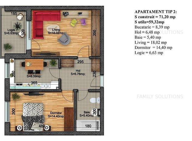 Apartament 2 camere,Acte gata-Mutare rapida - imaginea 1