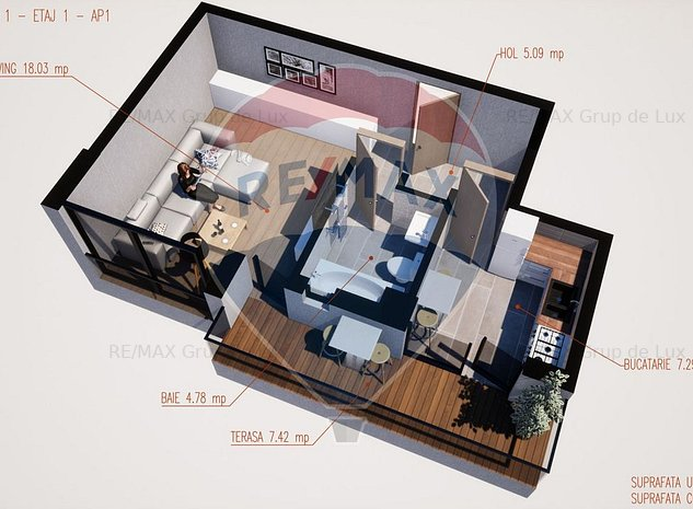 Apartament 1 camera | 42.61 mp | Comision 0% - imaginea 1