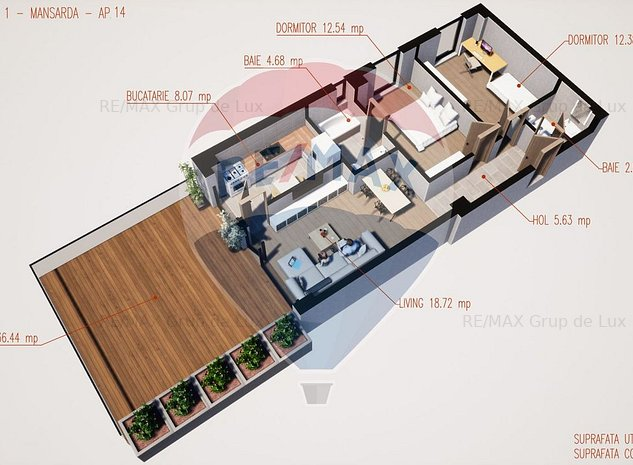Inedit   Apartament 3 camere cu terasa   Comision 0 % - imaginea 1