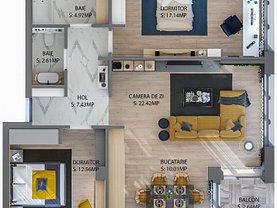 Apartament de vânzare sau de închiriat 3 camere, în Cluj-Napoca, zona Baciu