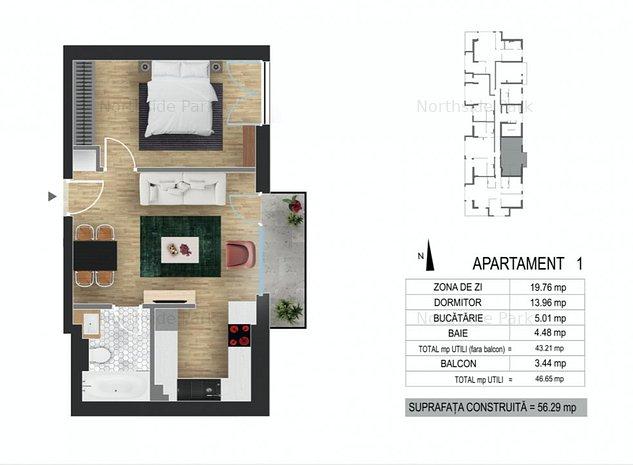 Baneasa Sisesti- NorthSidePark apartament cu 2 camere, 57 mp, - imaginea 1