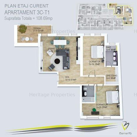 Apartament 3 camere Tip T1 Piata Victoriei - Parcul Kiseleff - imaginea 1