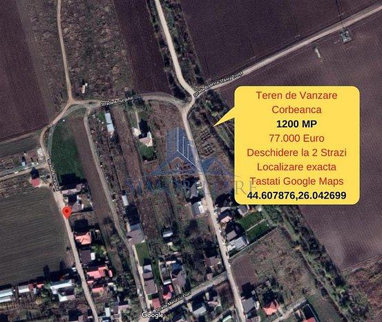 Corbeanca- Teren Intravilan 1200 MP- Comision 0% - imaginea 1