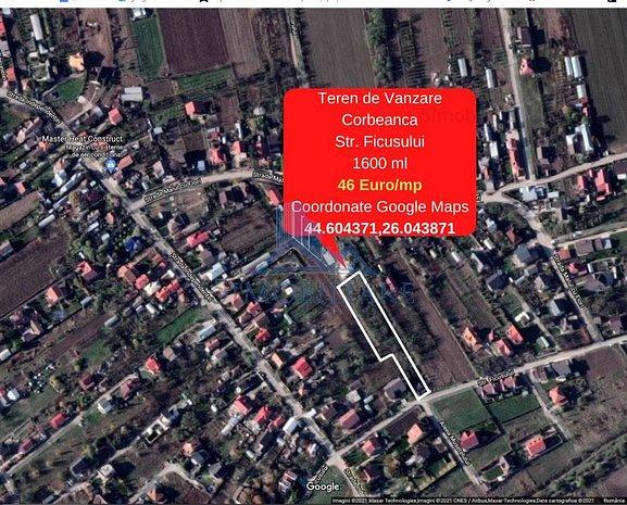 Corbeanca - Teren de Vanzare, Str. Fiscului 1600 mp, 45 euro/mp - imaginea 1
