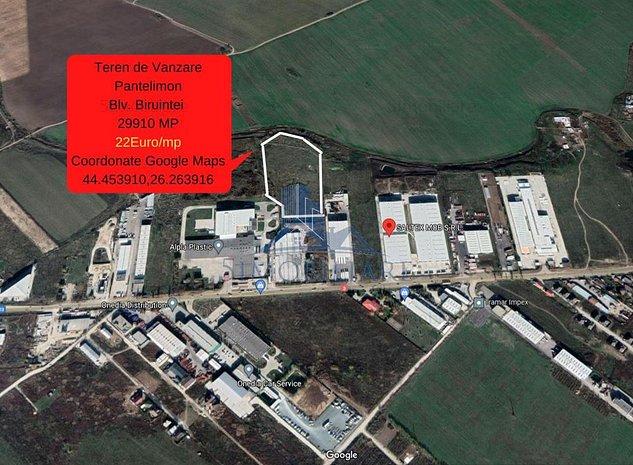Pantelimon,Bulevardul Biruintei - teren de vanzare- 29910 Mp, 22Euro/mp - imaginea 1