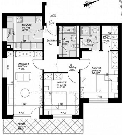 Apartament 3 camere nou in Grandis Residence, cod 8205 - imaginea 1