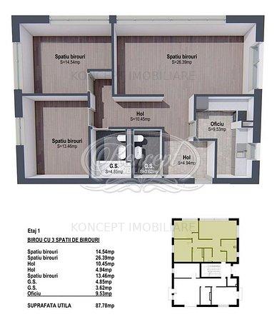 Spatiu cu 3 camere pentru birouri in zona B-dul Muncii - imaginea 1
