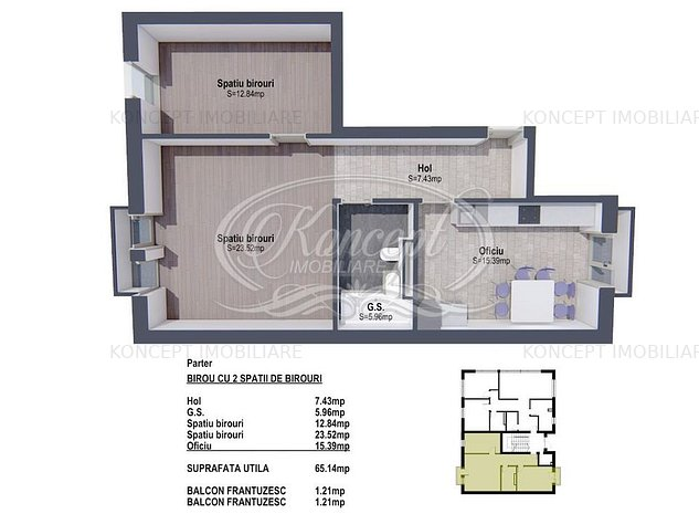 Spatiu cu 2 camere pentru birouri in zona B-dul Muncii - imaginea 1