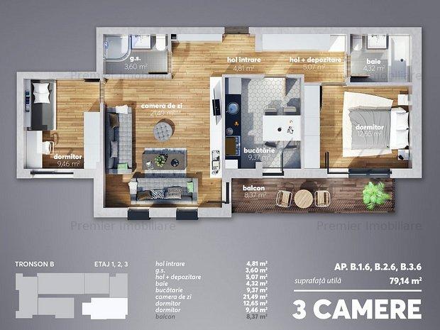 Vanzare apartament 3 camere decomandat  metrou Aparatorii Patriei - imaginea 2