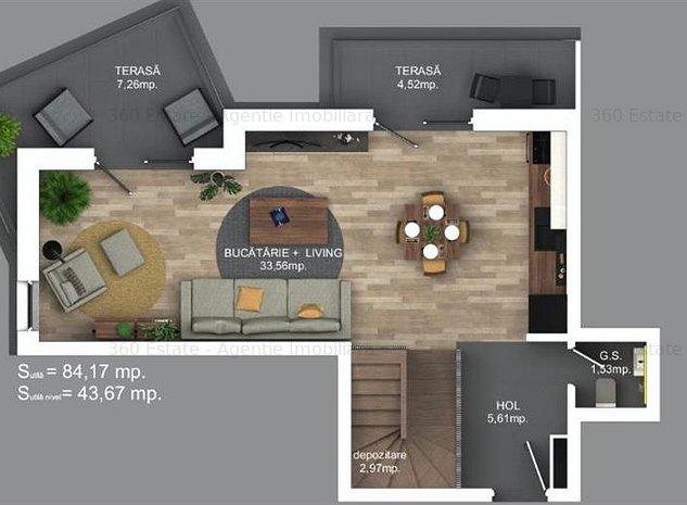 Vand Penthouse | PRIVELISTE PANORAMICA | 84mp utili | INCALIZRE PARDOSEALA | - imaginea 1