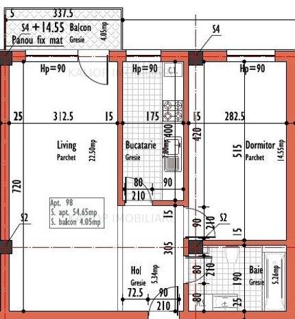 Apartament cu 2 camera, imobil nou cu C.F. in Dambu Rotund - imaginea 1