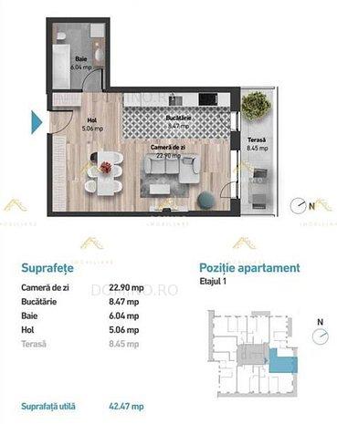Apartament 1 Camere,Bloc Nou Cartier Zorilor, Zona Golden Tulip - imaginea 1