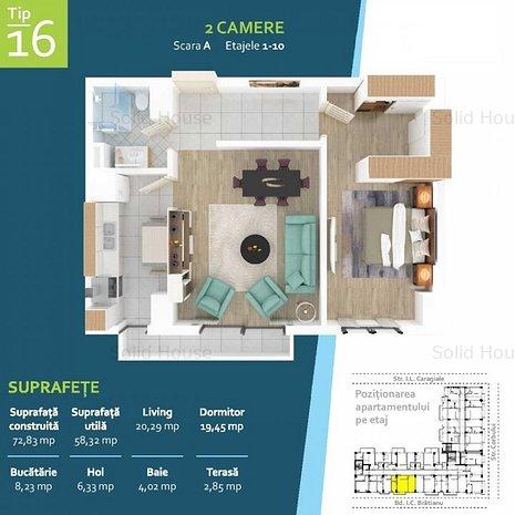 2 camere La cheie in ansamblu rezidential nou, Zona Intim - imaginea 1