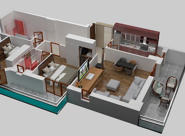 3 camere La Cheie - Vedere lac Solid Residence Mamaia - imaginea 1