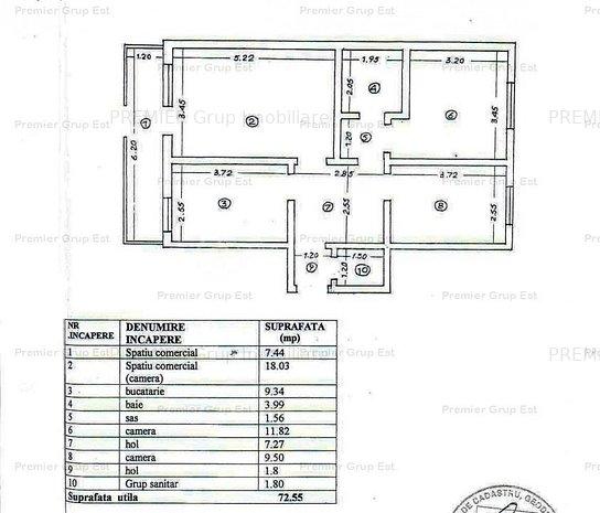 Apartament 3 camere, Centru Civic Palas, 72mp, CT, termoizolatie - imaginea 1