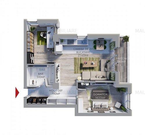 Apartament 2.5 camere, bucatarie mobilata si utilata BONUS in Avantgarden3 - imaginea 1
