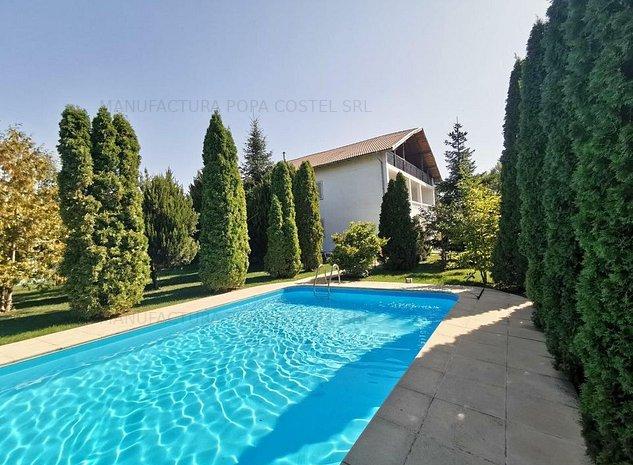 Snagov vila 7 camere P+1Et+M Su=356 mp teren 1579 mp piscina - imaginea 1