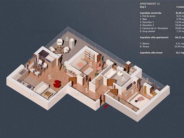 Dezvoltator, Oferta 3 camere, 91 mp, et 3/4, lift, 2 bai, 2 terase, bloc 2019 - imaginea 1